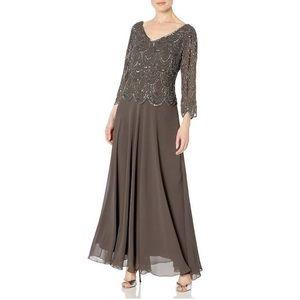 J Kara Women's Plus Size 3/4 Sleeve Beaded Dress